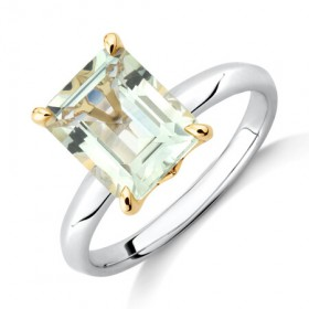 NEW-Green-Amethyst-Ring-in-Sterling-Silver-10ct-Yellow-Gold on sale