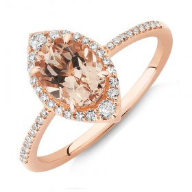 NEW-Halo-Ring-with-Morganite-020-Carat-TW-of-Diamonds-in-10ct-Rose-Gold on sale