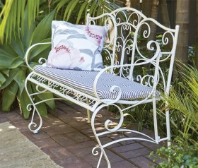 Cotswolds-2-Seater-Steel-Bench-with-Seat-Cushion on sale