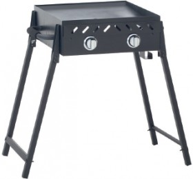 Grilled-Solid-Plate-2-Burner-BBQ-with-Folding-Legs on sale