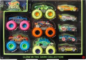 NEW-Hot-Wheels-9-Pack-Monster-Trucks-Glow-in-the-Dark on sale