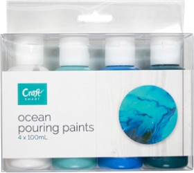 Craft-Smart-Pouring-Paint-4x100ml-Ocean on sale
