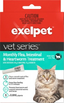 Exelpet-Vet-Series-Monthly-Flea-Intestinal-Heartworm-Treatment-for-Cats-Over-4kg on sale