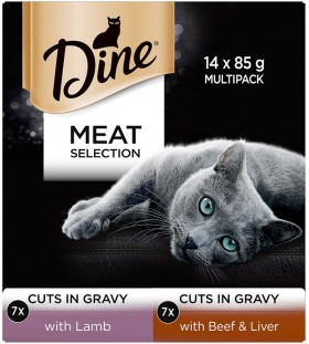 Dine-14-Pack-Cat-Food-Tin-85g-Meat-Selection-In-Gravy on sale