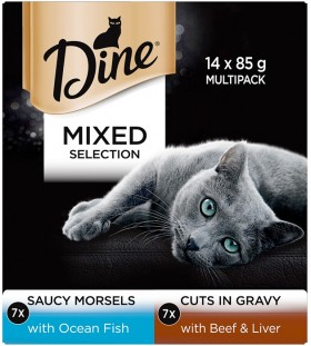 Dine-14-Pack-Cat-Food-Tin-85g-Mixed-Selection-In-Sauce on sale