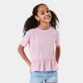 Short-Sleeve-Frill-Hem-Linen-T-Shirt on sale