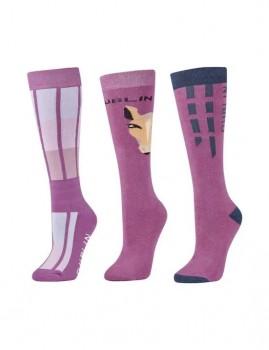 Dublin-3-Pack-Socks-Red-Violet-Horse-Face on sale