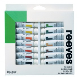 Reeves-Acrylic-Colour-Paint-Set-12mL-18-Pack on sale