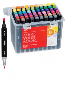 Born-60-Pack-Dual-Tip-Graphic-Art-Markers on sale