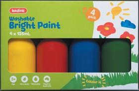 Kadink-4-Pack-Washable-Paint-125mL-Bright on sale