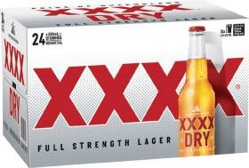 XXXX-Dry-Stubbies-330mL-24-Pack on sale