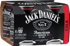 Jack-Daniels-American-Serve-Cola-10-Premix-Cans-250mL-4-Pack on sale