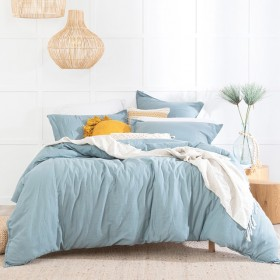 Washed-Linen-Look-Dusty-Blue-Quilt-Cover-Set-by-Essentials on sale