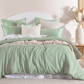 Washed-Linen-Look-Mint-Quilt-Cover-Set-by-Essentials on sale