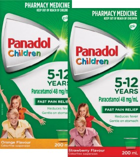 Panadol-Children-5-12-Years-Orange-or-Strawberry-Flavour-200mL on sale