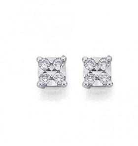 9ct-Gold-Diamond-Square-Stud-Earrings on sale