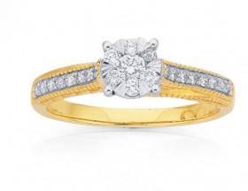 9ct-Gold-Diamond-Cluster-Shoulder-Set-Ring on sale