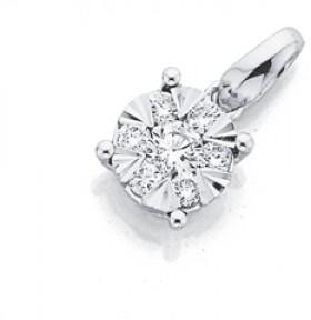 9ct-White-Gold-Diamond-Cluster-Pendant on sale
