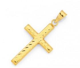 9ct-Gold-22mm-Diamond-cut-Cross-Pendant on sale