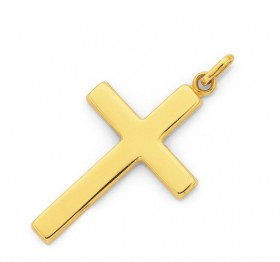9ct-Gold-30mm-Plain-Cross-Pendant on sale