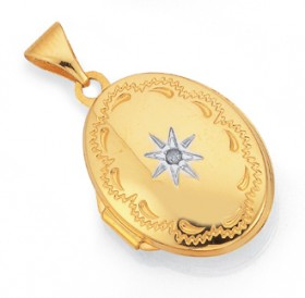 9ct-Gold-16mm-Diamond-set-Oval-Locket on sale
