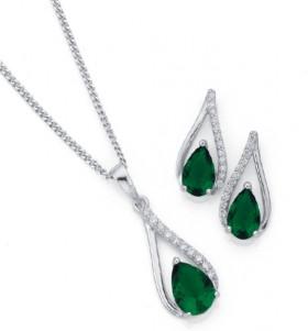 Sterling-Silver-Green-Cubic-Zirconia-Pendant-Earrings-Set on sale
