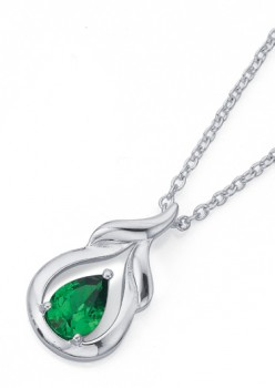 Sterling-Silver-Green-Cubic-Zirconia-Pendant on sale