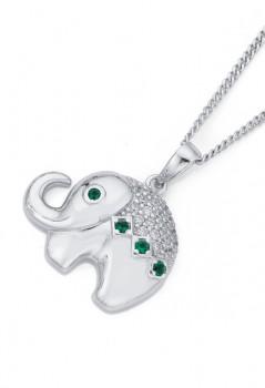 Sterling-Silver-Dark-Green-Cubic-Zirconia-Elephant-Pendant on sale