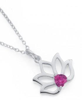 Sterling-Silver-Cubic-Zirconia-Flower-Pendant on sale