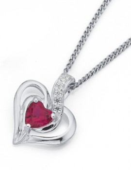 Sterling-Silver-Red-Cubic-Zirconia-Heart-Pendant on sale