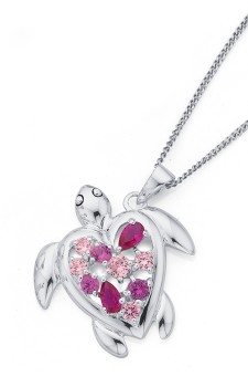 Sterling-Silver-Cubic-Zirconia-Turtle-Pendant on sale
