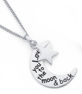Sterling-Silver-Love-You-To-The-Moon-with-Star-Pendant on sale
