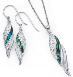 Sterling-Silver-Paua-Shell-Scroll-Twist-Pendant-Earrings-Set on sale