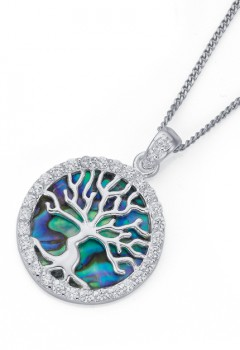 Sterling-Silver-Green-Paua-Shell-and-Cubic-Zirconia-Tree-of-Life-Pendant on sale