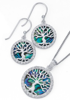 Sterling-Silver-Paua-Shell-and-Cubic-Zirconia-Tree-of-Life-Earrings-Pendant-Set on sale