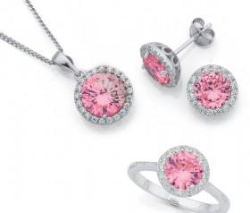 Sterling-Silver-Pink-Cubic-Zirconia-Earrings-Pendant-Ring-Set on sale