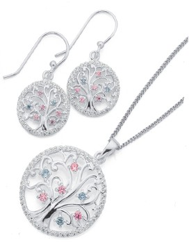 Sterling-Silver-Pink-Cubic-Zirconia-Tree-of-Life-Earrings-Pendant-Set on sale