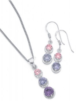 Sterling-Silver-Round-Cubic-Zirconia-Earrings-Pendant-Set on sale