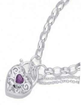 Sterling-Silver-Amethyst-and-Cubic-Zirconia-Padlock-Bracelet on sale