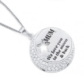 Sterling-Silver-Cubic-Zirconia-We-Love-You-Mum-Pendant on sale