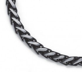 Stainless-Steel-Gents-55cm-Black-Large-Wheat-Chain on sale