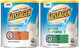 Sustagen-Hospital-Formula-Active-Vanilla-or-Hospital-Formula-Active-Plus-Fibre-Vanilla-840g on sale