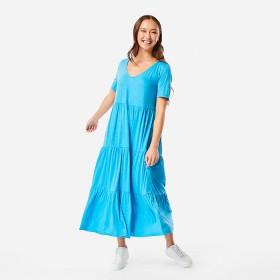 Short-Sleeve-Tiered-Jersey-Midi-Dress on sale