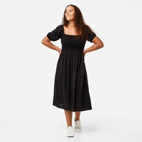 Short-Sleeve-Shirred-Bodice-Dress on sale