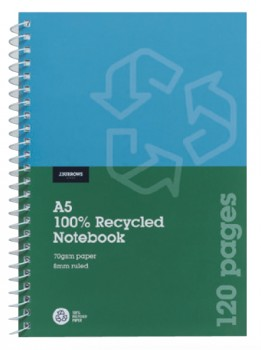 JBurrows-A5-100-Recycled-120-Page-70gsm-Spiral-Notebook on sale