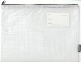 Studymate-A4-Mesh-Pencil-Case-Clear on sale