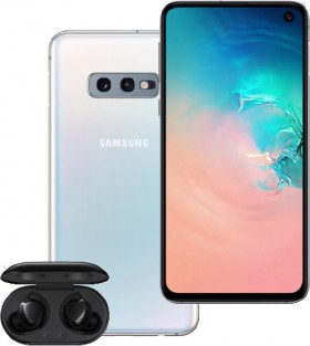 Samsung-S10e-128GB-White-and-Galaxy-Buds on sale