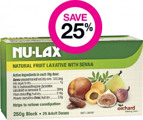 Save-25-on-Nu-Lax-Natural-Fruit-Laxative-with-Senna-250g-Block-25-Adult-Doses on sale