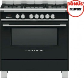 Fisher-Paykel-90cm-Dual-Fuel-Freestanding-Cooker-Black on sale