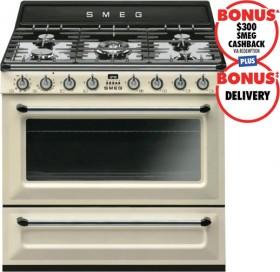 Smeg-90cm-Victoria-Dual-Fuel-Upright-Cooker-Pannacotta on sale